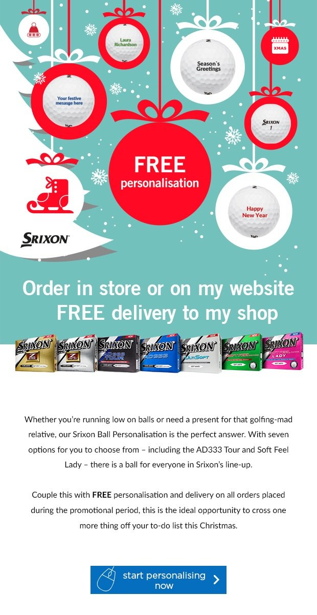 Free Personlisation on Srixon's, from £19.99